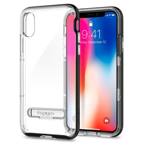 Etui do iPhone X/XS Spigen Crystal Hybrid [czarne]